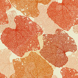 Fall leaves seamless pattern. Orange and red fall leaves seamless pattern Stock Images
