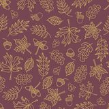 Fall leaves seamless vector background. Beige green leaves on a purple background. Acorns, oak tree, maple tree pattern. Doodle. Fall leaves seamless vector stock illustration