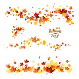 Fall leaves set. Autumn leaves borders. Nature design elements set. Fall maple leaves for decoration Royalty Free Stock Photography
