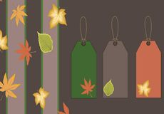 Fall leaves and tag background Royalty Free Stock Photos