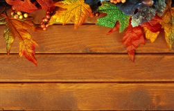 Fall leaves on wood Stock Photography
