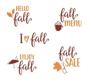 Fall lettering set. Set of hand written lettering set for Fall design. Hello, Enjoy, I love Fall, Menu and Sale calligraphy stock illustration
