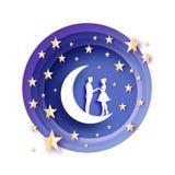 Fall in Liebe Mond Weiße romantische Liebhaber Goldmetallpapier-Sterne Papierschnittart Glücklicher Valentinsgrußtag romantisch lizenzfreie abbildung