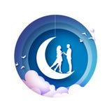 Fall in Liebe Sichelförmiger Mond Weiße romantische Liebhaber Weißbuch-Vögel Papierschnittart Glücklicher Valentinsgrußtag romant vektor abbildung
