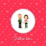 Fall in love couple card template Stock Image