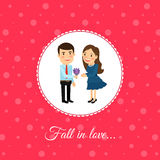 Fall in love couple. Valintines day card template with pink background. Vector illustration Royalty Free Stock Image