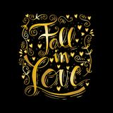Fall in love. Hand lettering Royalty Free Stock Photos