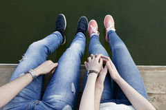 Fall in love. The guy holds the girlfriend by a hand Royalty Free Stock Photos