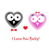 Fall in love hand drawing owls. Stock Photos