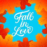 Fall in love hand written lettering quote. Autumn phrase with bright fall leaves for card, poster, print. Isolated on background. Vector illustration Stock Photos