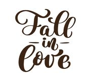 Fall in love handwritten autumn season inscriptions. Vector hand lettering. Modern brush calligraphy isolated on white Royalty Free Stock Images
