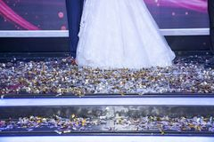 Happy ending wedding party stock photo