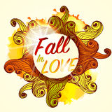 Fall in Love Lettering Seasonal Autumn Banner Postcard Royalty Free Stock Photo