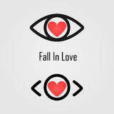Fall in love logo design.The best vision idea concept.Human eye Stock Photography