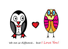 Fall in love penguin and owl. Stock Image
