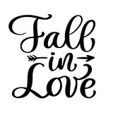 Fall in love postcard vector. Phrase for Valentine`s day. Ink illustration. Modern brush calligraphy text. Isolated on. White background Stock Image