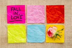 Fall in love reminder on sticky notes Stock Image