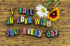 Fall love with you every day valentine. Lets fall in love with you everyday painted letters flowers lover couple relationship romance friendship believe hope royalty free stock image