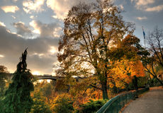 Fall in Luxembourg. Sunset in Luxembourg in autumn with view of Ponte Adolphe Stock Photography