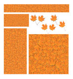 Fall maple leaf banner background set. Web banner background cut out set of fall leaves from a golden yellow sugar maple tree Acer saccharum repeated all over royalty free illustration
