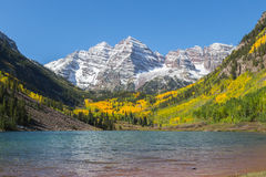 Fall at Maroon Bells. Maroon bells and fall aspens near aspen colorado Royalty Free Stock Images