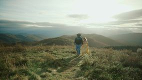 Fall on Max Patch Mountain Appalachian Mountains, Tennessee & North Carolina, young couple, woman in yellow dress stock footage