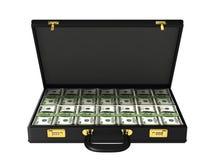 Fall mit Bündeln Banknoten 100$ Stockbilder