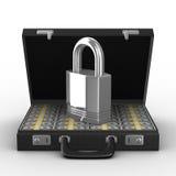 Fall mit Geld auf weißem Hintergrund Lizenzfreies Stockfoto