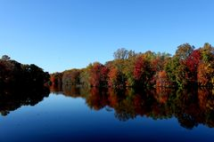 Fall At Moore's Lake Dover Delaware. Picture of Moore's Lake Dover Delaware at the start of Autum Stock Photography