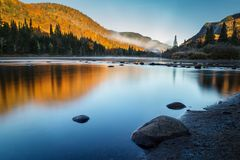 Fall Morning at Jacques Cartier National Park royalty free stock photography