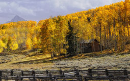 Fall mountain cabin Stock Photo