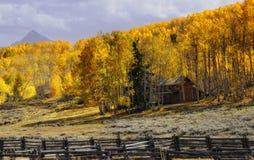 Fall mountain cabin Stock Photo
