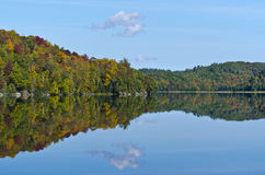 Fall Mountain Colours Reflected in Lake Stock Photography