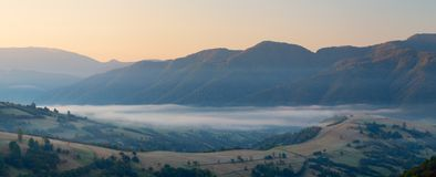 Fall of the mountain fog Royalty Free Stock Photography