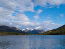 Fall mountain landscape of Lapie Lake Yukon Canada Stock Photo