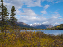 Fall mountain landscape of Lapie Lake Yukon Canada Royalty Free Stock Images