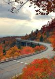 Fall Mountain Road. The linn cove viaduct during the fall in the mountains Royalty Free Stock Images