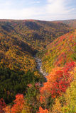 Fall Mountain Scenic. Fall colors are at peak in the hills of West Virginia Stock Photos