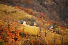 Fall in mountain village. October scene Royalty Free Stock Image