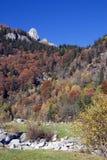 Fall mountains. In autumn colors stock photos