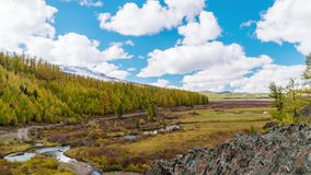 Fall in Mountains. Landscape panorama. Altai. Siberia stock video footage