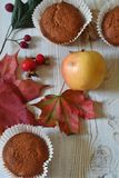 Fall muffins on white rustic background. Autumn vibes through fall backgrounds royalty free stock photos