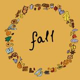 Fall. Mushrooms, autumn leaves, acorns, berries. Frame - wreath. Isolated vector objects on yellow background. Fall. Mushrooms, autumn leaves, acorns, berries vector illustration