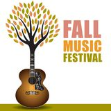 Fall music festival art. With a guitar tree background royalty free illustration