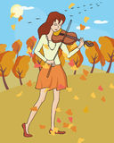 Fall music: girl playing violin at autumn landscape Royalty Free Stock Photography
