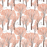 Fall nature wildlife seamless pattern Autumn trees background Pl. Ant with leaves. Forest birds ornamental endless pattern Royalty Free Stock Photography