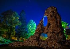 Fall night castle ruins in Estonia. Fall night castle ruins with stars in Estonia royalty free stock photos