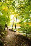 Fall on Ogle Lake, Brown County State Park, Indiana. Located in Nashville, Indiana, Brown County State Park encompasses 15,777 acres of land in Nashville stock photo