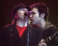 Fall Out Boy Performs. Patrick Stump L and Peter Wentz with Fall Out Boy perform in concert at the Bank United Center in Coral Gables, Florida on April 26, 2006 stock image