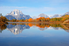 Fall at Oxbow Bend. The Fall view at Oxbow Bend in Grand Teton Nation Park, Wyoming Stock Photo